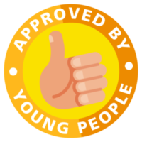 Illustration of stamp with text saying Approved by Young People