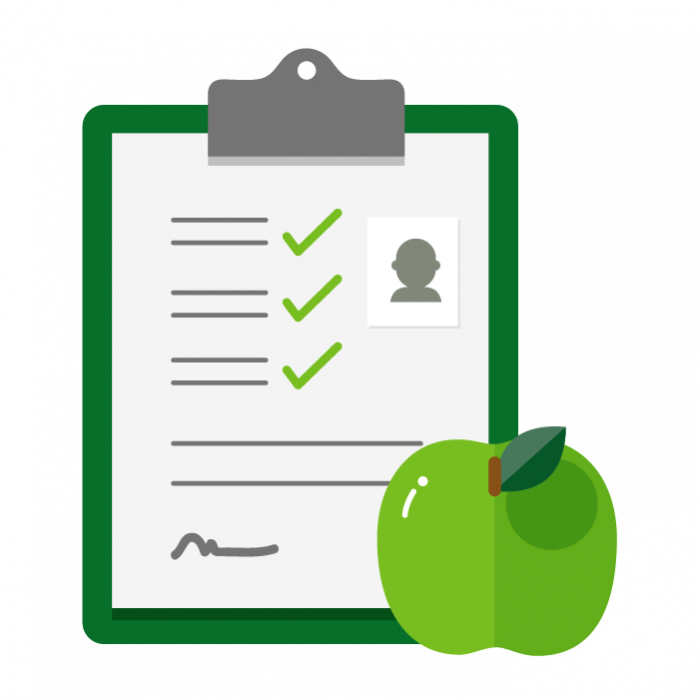 Illustration of check list with green apple