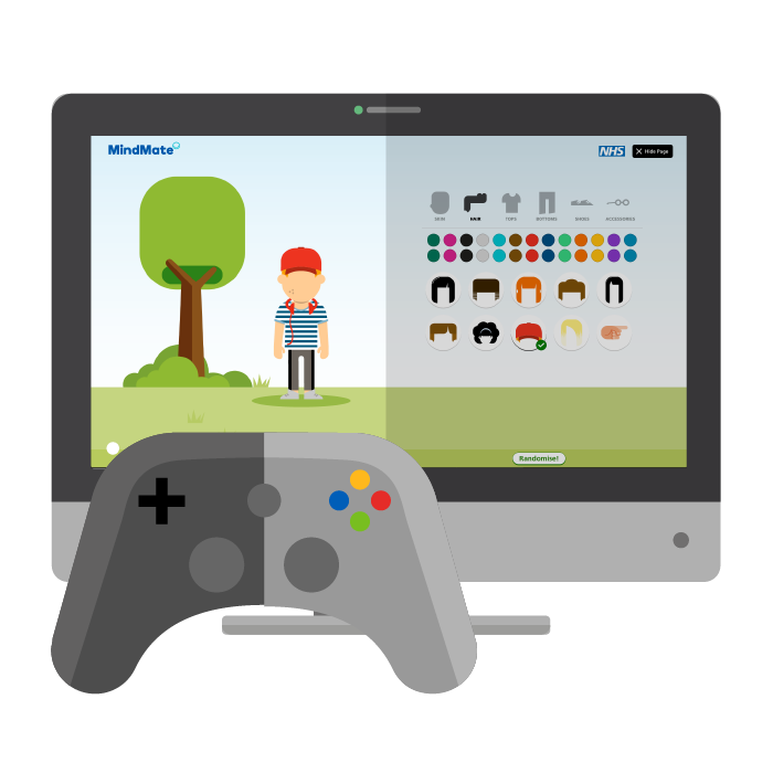 Illustration of screen with MindMate game and game controller