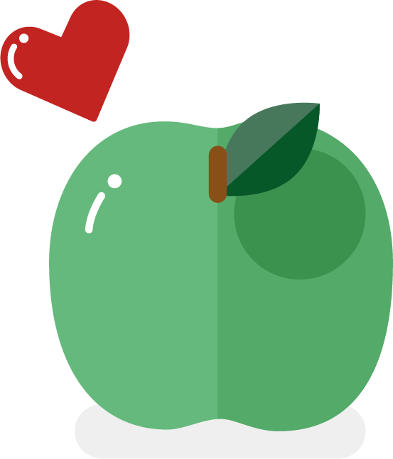 Illustration of green apple and red heart