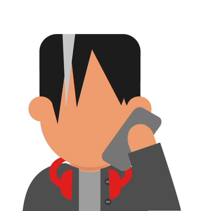 Illustration of young person on phone