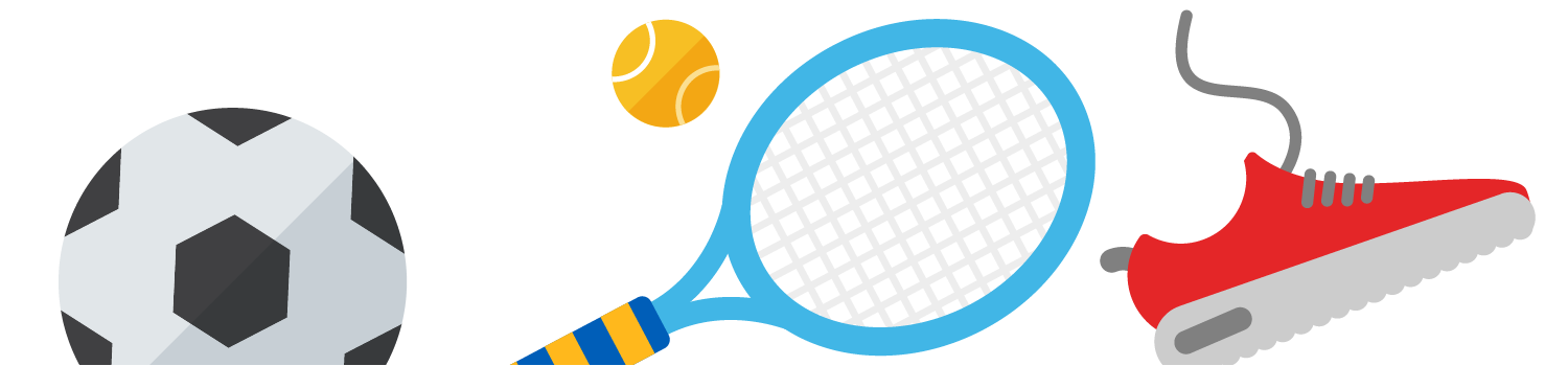 Illustration of tennis racket, football, trainer