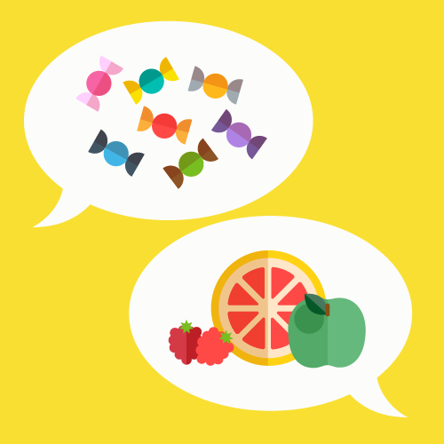 Illustration of speech bubbles with different foods inside