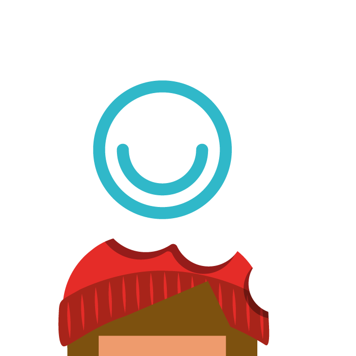 Illustration of young person with thought bubble with MindMate logo inside