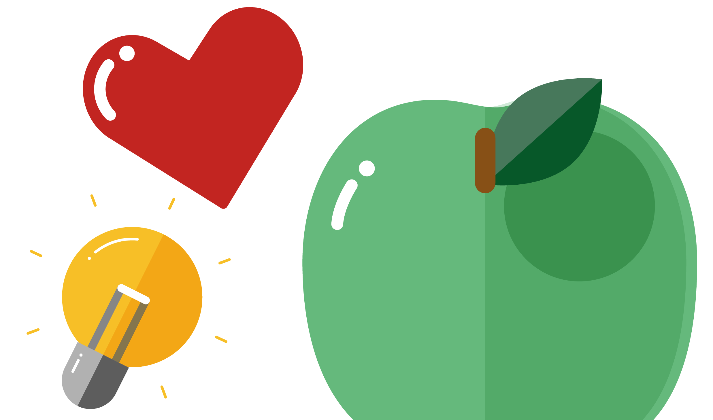 Illustration of green apple, red heart and light bulb