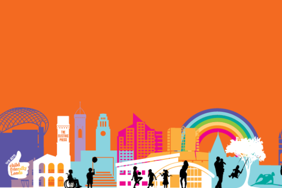 Illustration of Leeds city centre with rainbow in the background
