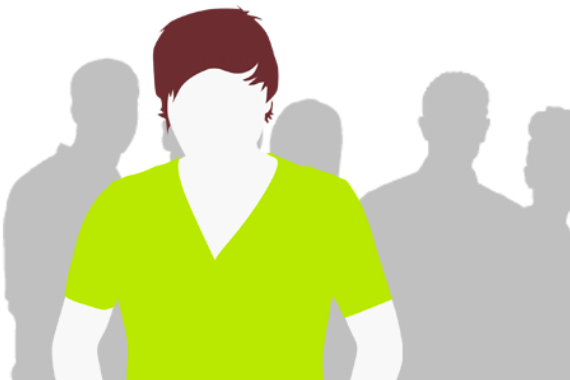 Illustration of young person in a crowd feeling alone