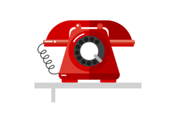 Illustration of red old style phone