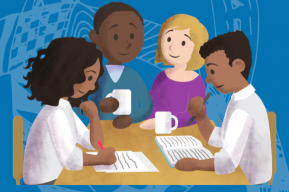 Illustration of young people working together