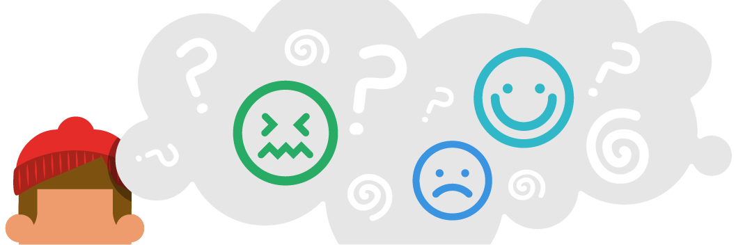 Illustration of young person with a thought bubble full of different emoticons and question marks