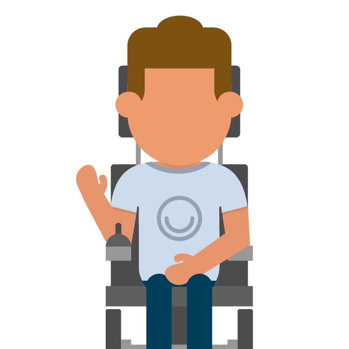 Illustration of young person in wheelchair