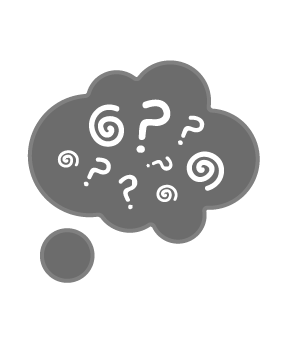 Illustration of thought bubble filled with question marks