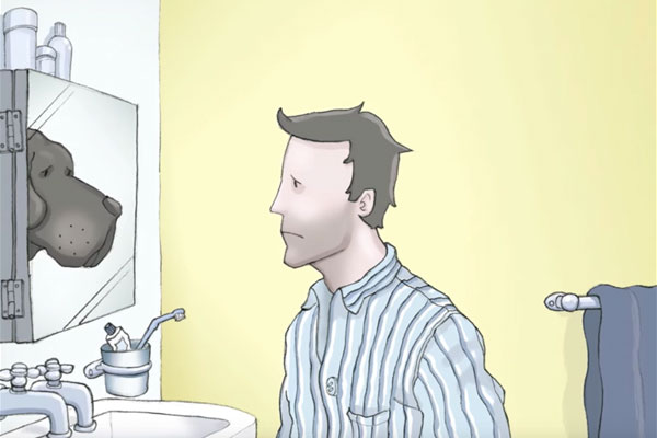 Illustration of person looking in their mirror and feeling extremely sad