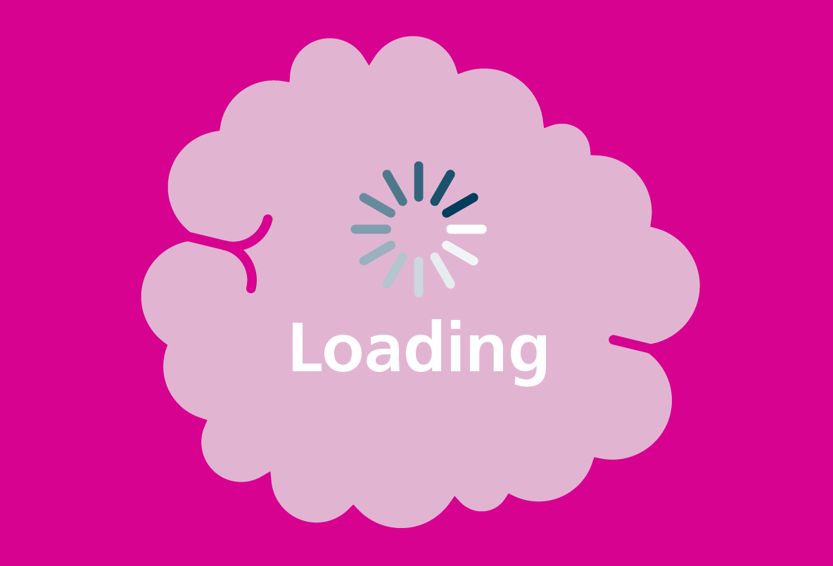 Illustration of thought bubble with the text Loading inside