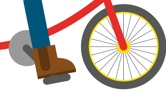 Illustration of person riding bike