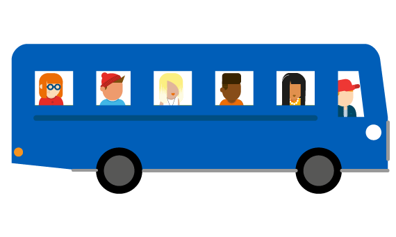 Illustration of bus full of young people