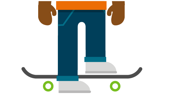 Illustration of young person on skateboard