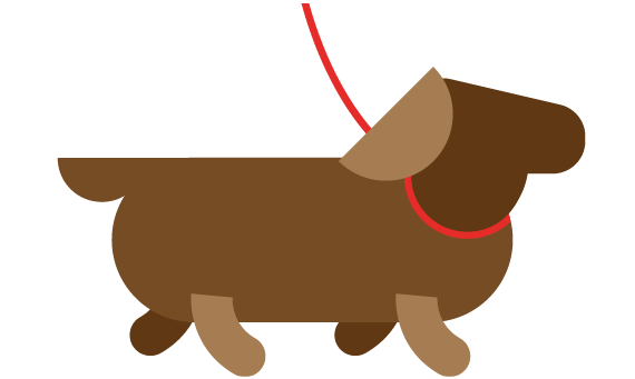 Illustration of dog on lead