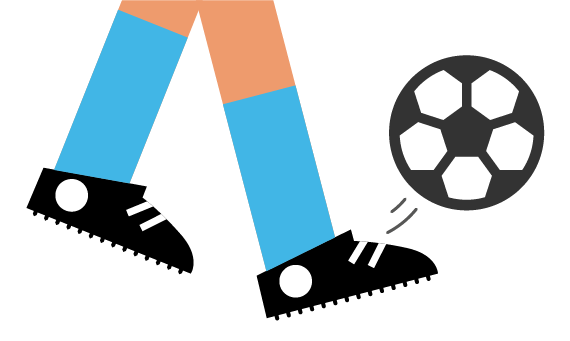 Illustration of young person kicking football