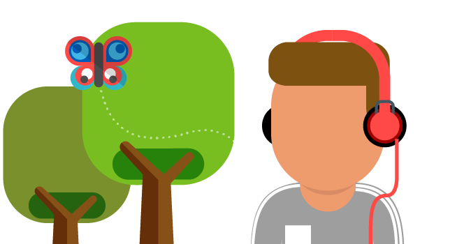 Illustration of young person listening to music outside