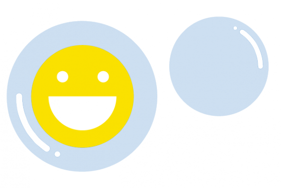 Illustration of bubbles with smiley face emoji
