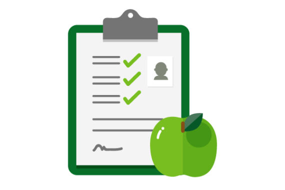 Illustration of checklist with green apple