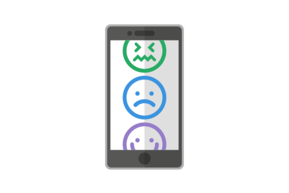Illustration of phone with different emojis on it