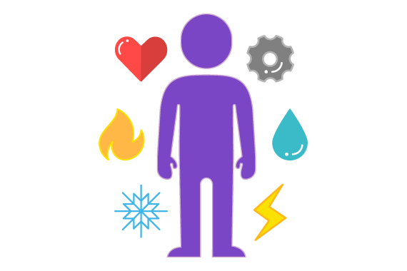 Illustration of person stood with different icons around them