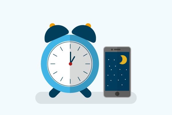 Illustration of alarm clock and phone showing that it's night time
