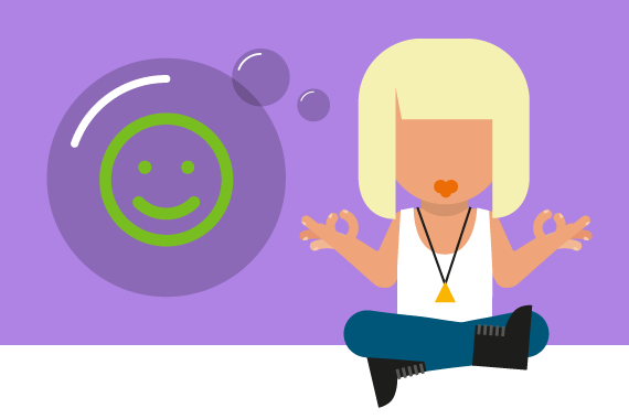 Illustration of young person meditating with MindMate logo in thought bubble