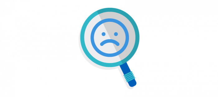Illustration of magnifying glass with sad face in the middle
