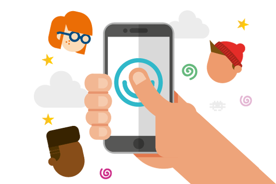 Illustration of a phone with the MindMate logo on surrounded by illustrations of young people and clouds