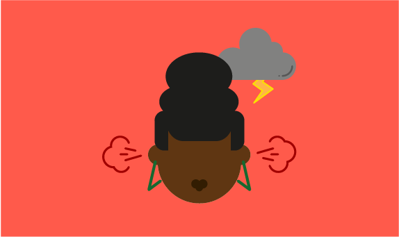 Illustration of young person angry with storm clouds above their head