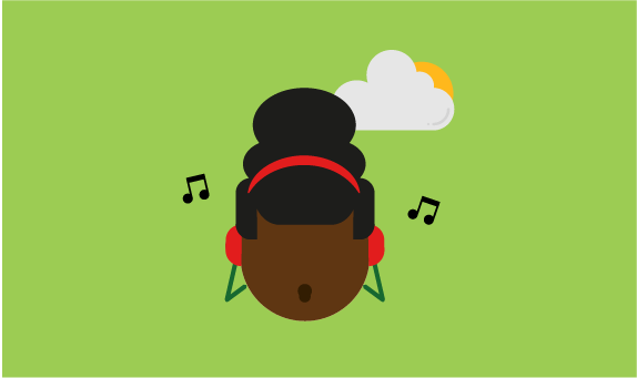 Illustration of young person calm listening to music