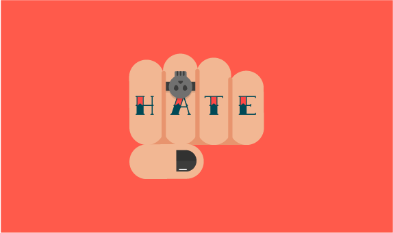 Illustration of hand tattooed with the word hate