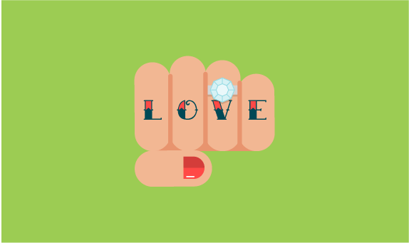 Illustration of hand tattooed with the word love