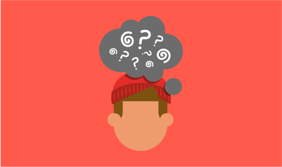 Illustration of young person with thought bubble above their head filled with question marks