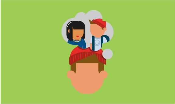 Illustration of young person with thought bubble above their head filled with people talking