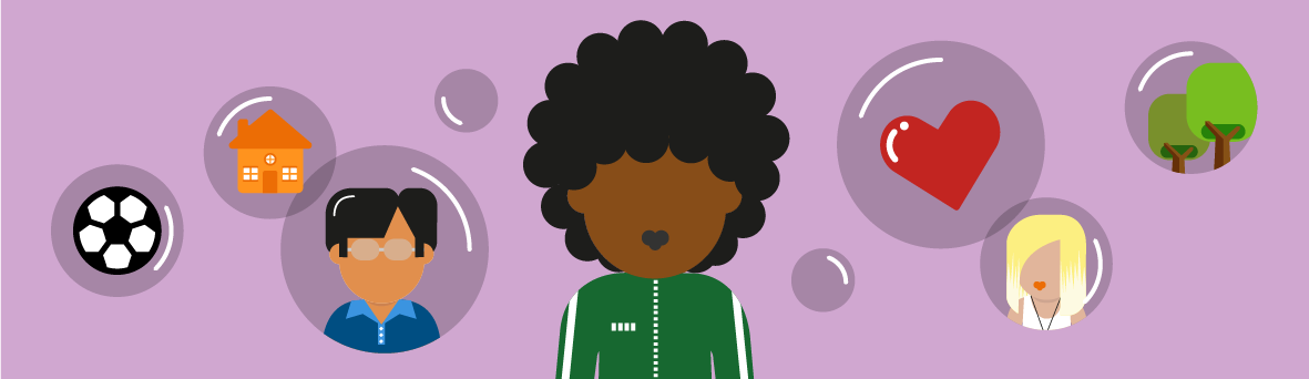 Illustration of young person surrounded by different thought bubbles filled with icons