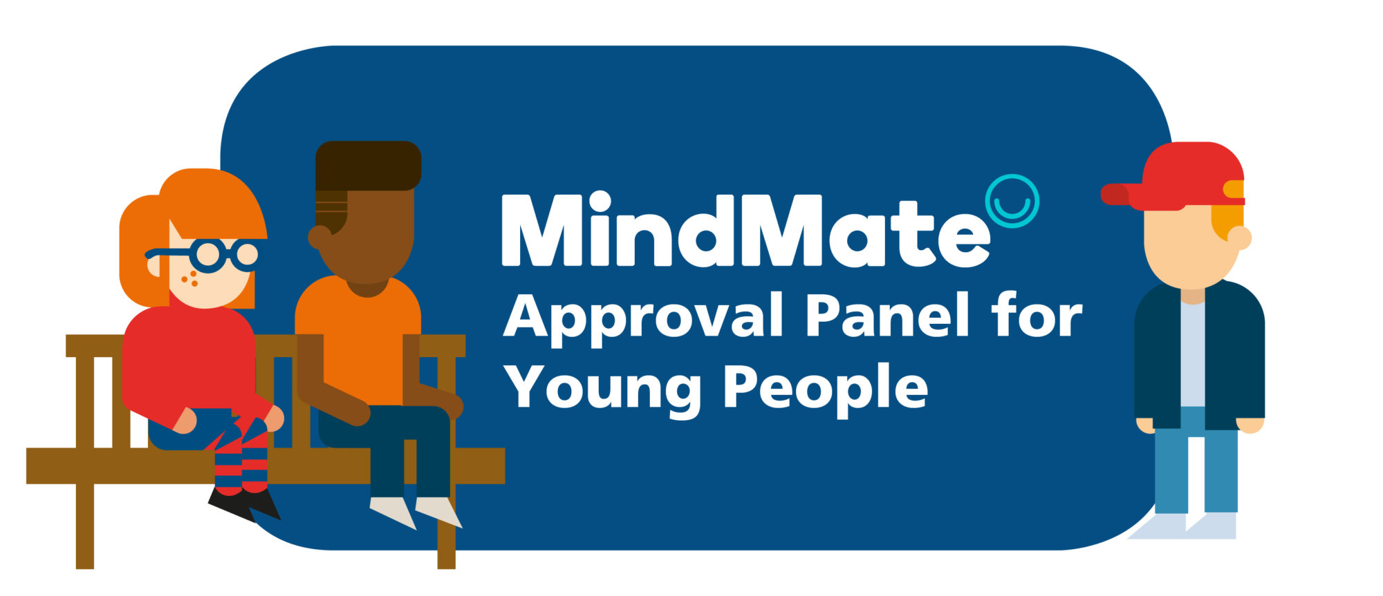 Illustration of young people with the Mindmate logo