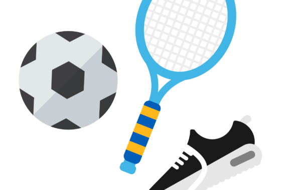 Illustration of tennis racket, football and trainers