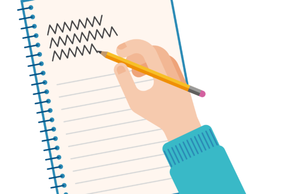 Illustration of someone writing in a notebook