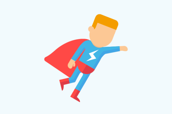 Illustration of young person dressed as a super hero
