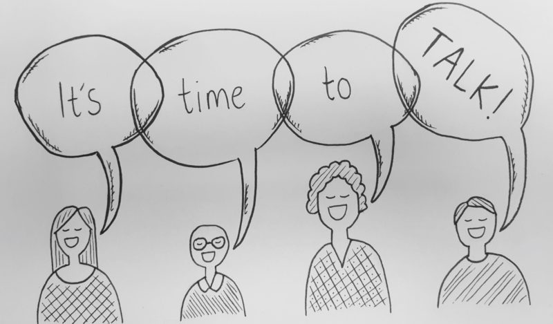 Pencil sketch of four people with speech bubbles that say 'It's time to talk!'