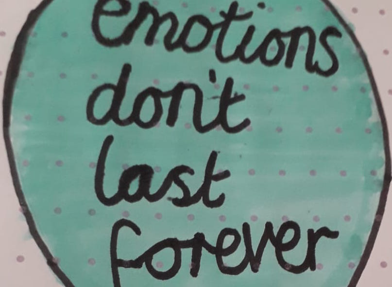 hand drawing with the words emotions don't last forever inside a blue balloon