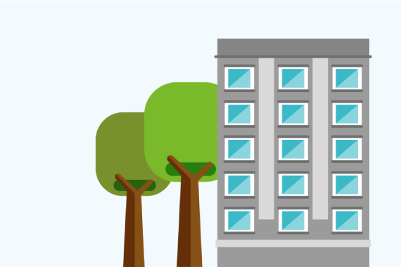 Illustration of a building next to trees