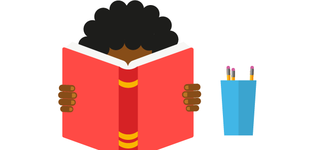 Illustration of young person reading a book