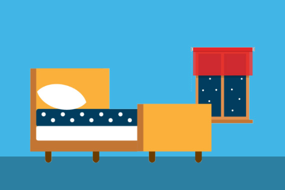 Illustration of bed with a window looking out at the night sky