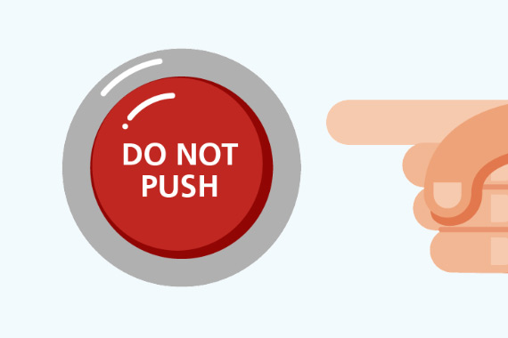 Illustration of button with the text DO NOT PUSH