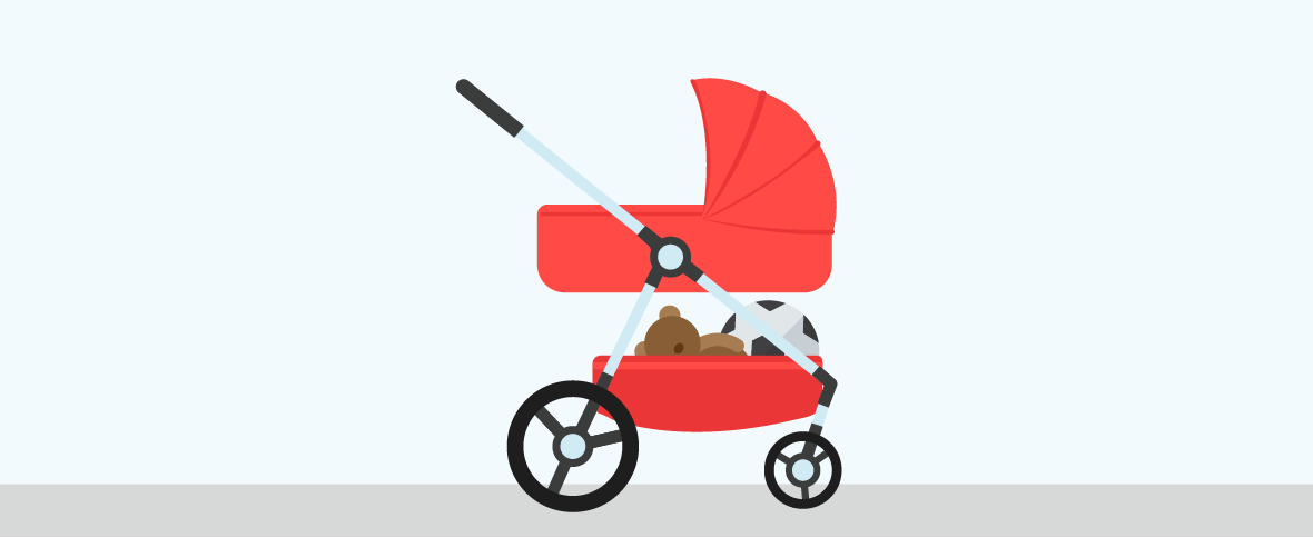 Illustration of a red pram